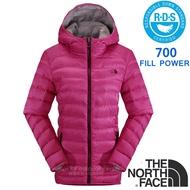 【美國 The North Face】女新款 700FPl 超輕保暖鵝絨防潑水連帽羽絨外套.兜帽防風夾克/CTW0 紫紅 N