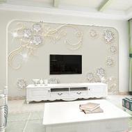 歐式8d電視背景墻壁紙墻現代簡約背景墻無縫壁畫裝飾大影視墻布紙1入
