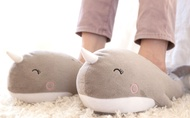 Adorable Narwhal Slippers, Unicorn of The Sea, Plush Squishy Moccasins