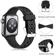 Silicone Strap for Apple watch band 44mm 40mm series 6 5 4 3 2 SE Accessories Woven Pattern belt bracelet iWatch band 42mm 38mm