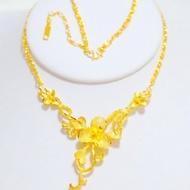 噴沙精美花朵鍍24K黃金項鍊女款越南沙金新娘結婚首飾仿真金鍊子