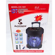 """AVCROWNS👑 12"""" Trolley Rechargeable Portable Speaker With Wireless Microphone 🎤  CH-1201"""