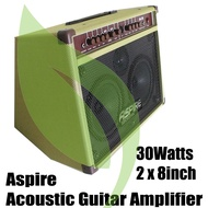 "Guitar Acoustic Amplifier , Aspire 30Watts 2 x 8"" Speakers. Tilting . (Alternative brand to: global nux frontline cort blackstar wire mighty davis laney fernando boston orange crush fernando acoustic rj bose boss marshall aroma peavey AG30 AG-30 )"