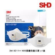 3M 9211+頭戴式N95帶閥摺疊口罩(1盒)