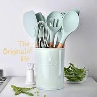 廚房用品 鍋鏟 廚具 綠色矽膠實木手柄廚具11件套組