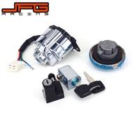 Lockset สวิตช์กุญแจจุดระเบิดก๊าซเชื้อเพลิงหมวกพวงมาลัยหมวกกันน็อคล็อคกุญแจสำหรับ Magna 250 vt400 vt750 1998-2003 ca250 --(1 เซ็ต)