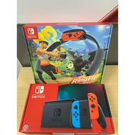 Nintendo Switch 新版 續電加長 主機+健身環大冒險 Ring Fit 同捆組+玻璃貼