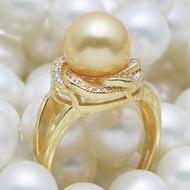 美麗時尚 南洋金珠母貝珍珠戒指 貝珠指環 925純銀鍍金色高貴大氣1入