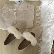 晚晚風韓版毛毛單鞋女低跟中跟鞋兔毛方頭溫柔仙女鞋 安妮塔小舖