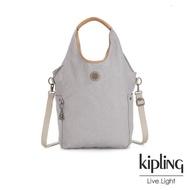 【KIPLING】邊緣地帶系列低調皮革質感霧灰肩背側背包-URBANA