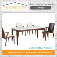 Ellen Marble Dining Set   Dining   2 Chair Colours   Solid wood Table Leg Base
