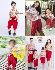 ชุดไทยเด็ก ชุดไทยเด็กชาย ชุดไทยประยุกต์ เด็กชาย ชุดไทยโจงกระเบน โจงกระเบนเด็กชาย Shaba Sabai Thai Jongkraben ชุดไทยลายดอก
