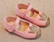(หนังนิ่ม))รองเท้าออกงาน รองเท้าเด็กหญิงสีชมพู Dress Shoes รองเท้าคัชชูเด็กผู้หญิง (Size 22-34)