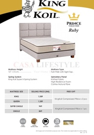 [Free Items] King Koil Ruby Mattress/ Tilam (King/Queen/SuperSingle/Single)(15 Years Warranty)