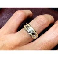 KM國王珠寶精品 1克拉鉑金950雙色設計款男戒 歐洲進口莫桑石Meteore