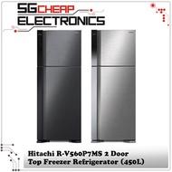 Hitachi R-V560P7MS 2 Door Top Freezer Refrigerator (450L)