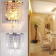 歐式水晶壁燈床頭帶開關臥室牆壁燈客廳樓梯走壁燈不銹鋼玄關E14另帶LED紫光