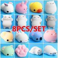 8PCS Mochi Squishy Toys Mini Squishies Mochi Squishy Animal Stress Toys Soft Stress Relief Toys for