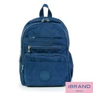 【i Brand】輕盈防潑水多口袋尼龍後背包(藍色)