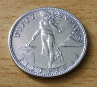 1944 50 Centavos Silver Coin (75%) US - Commonwealth of the Philippines Series (Almost Uncirculated)