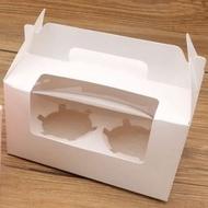 【手提/純白2格裝-50入下】開窗 2粒 杯子蛋糕盒 6寸芝士蛋糕盒 包裝盒 馬芬盒 6寸 蛋糕盒 布丁盒 蛋塔盒 餅乾盒 奶酪盒