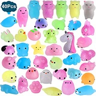 Outee Mochi Squishies Animals, 40 Pcs Mochi Squishies Toys 2nd Generation Mini Toys Stress Relief Squishies Random Animals Squishies Toys Glitter Mini Elephant Squishies for Kids Adults, Xmas Gift