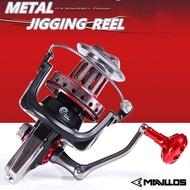 Mavllos Full Metal Max Drag 25KG Jigging Spinning Fishing Reel 9000 10000 12000 Long Cast Spinning Reels Casting Saltwater Fishing Jigging Reel