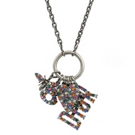 Christian Dior 彩色蜜蜂星星鑲鑽造型項鍊(銀)