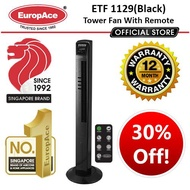 EUROPACE TOWER FAN WITH IONIZER and REMOTE ETF 1129 BLACK