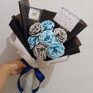 Custom Buket Bunga wisuda cowok murah, Buket bunga mawar palsu