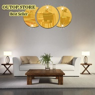 OUTOP Round Combination Mirror Wall Sticker DIY Decorative Living Room Handwashing Wallpaper Sticker