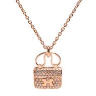 HERMES Constance系列經典H LOGO真鑽鑲嵌手提包造型墜飾玫瑰金項鍊