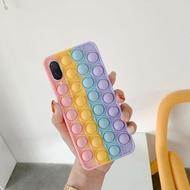 Phone Case For Huawei Nova 3 Nova 3i Soft Silicone with Rainbow Capa Push It Relieve Stress Fidget Toy Pop Bubble casing