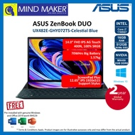 """Asus ZenBook DUO UX482E GHY072TS Celestial Blue 14.0"""" FHD IPS Touch Notebook (i7-1165G7/16GB/512GB NVMe SSD/MX450/Office H&S 2019 OPI/Win10/2 Years Global warranty)"""