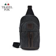 【TRAVEL FOX 旅狐】帆布拼接皮革隨身斜背包(TB701-01 黑色)