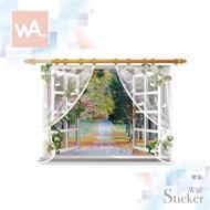 WA 無痕設計窗景窗簾壁貼 防水貼紙 壁畫框畫 浴室客廳臥室 展覽活動布置 創意裝飾 家飾壁紙 9020C
