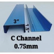 "RDYSTK 0.75mm (59"") C Channel Blue Biru / 0.47mm 150cm (59"") Batten Blue Biru Besi Bumbung C Besi Bumbung V"