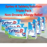 Zyrtec-R Triple Pack 10's Tablets/75ml Solution(For Kids)*Non-Drowsy Rapid Allergy,Cold,Flu,Sneezing,Watery Eyes Relief