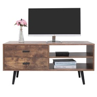 Iwell Mid-Century TV Stand with 2 Drawers & 2 Storage Shelf for Living Room, TV Console Cabinet with Solid Wood Leg, Modern Media Entertainment Center for Flat Screen TV Cable, Rustic Brown DSG006F