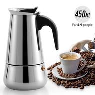 มอคค่าพอท รุ่นสแตนเลส ขนาด 6 ถ้วย300 มล. / 9 ถ้วย450 มล.  กาต้มกาแฟสดแบบพกพา หม้อต้มกาแฟแบบแรงดัน เครื่องชงกาแฟ เครื่องทำกาแฟสด เอสเปรสโซ่พอท MOKA POT