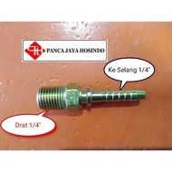 Hydraulic Fittings Male 1 / 4 Inch Male Nepel Hose Fittings 1 / 4 Inch