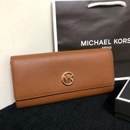 MK 素面小logo真皮扣式長夾 經典棕 MICHAEL KORS 現貨 美國代購