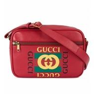 Gucci 523589 Logo 圖紋印刷信使郵差斜背包 紅色
