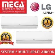 LG ALPHA+ SYSTEM 2 INVERTER MULTI-SPLIT AIRCON WITH WIFI BUILT-IN (4 TICKS)  / MADE IN KOREA