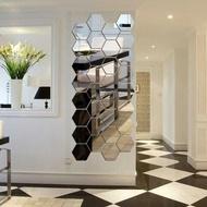 Hexagonal Mirror Sticker - Wallpaper Glass Stickers Wall Decoration - Silver