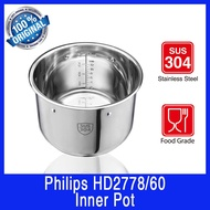 Philips HD2778 Inner Pot. 6 Litres Capacity.Stainless Steel. Use for Philips HD2137, HD2237, HD2178, HD2145.