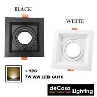 Single Eyeball Casing C/W 7w Led GU10 Lamp Holder Led Light Bulb Spotlight Recessed Downlight Decasa Lighting Single Head Rectangle Downlight Eyeball Ceiling Light Lampu Hiasan Siling (HA-EB-GU10-1 + GU10-7W-WW)