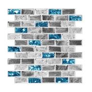 Vivid Tiles Blue Peel and Stick Tiles 3D Brick Effect Waterproof Kitchen Backsplash Decor Self Adhesive Wallpaper