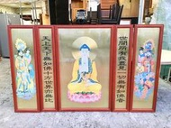 香榭二手家具*實木框鐵製 釋迦牟尼佛神桌掛畫-佛畫-神像畫-神明桌畫-佛像-實木畫框-毛筆畫-字畫-佛聯-佛具-鐵片畫