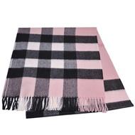 BURBERRY 經典大方格紋喀什米爾羊毛披肩/圍巾(玫瑰粉紅色/大200x36)